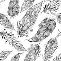 Feather seamless doodle black pattern decorative ancient magic symbol and trendy embellishment element bird style abstract vector Stock Photography