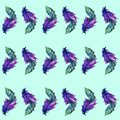 Feather seamless pattern in watercolor. Vector illustration.
