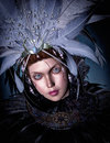 Feathered woman d computer graphics portrait of a with headdress and collar Stock Image