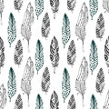 Feathers seamless pattern in ethnic style. Hand drawn zentangle doodle ornament pattern with vector feather