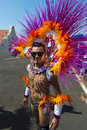 Feathers and sequins three men with in front of a float during the san diego gay pride parade Royalty Free Stock Photography