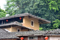 Featured roof and eave of traditional residence in country of fujian south of china shown as traditional architecture detail Royalty Free Stock Photos