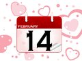 February calendar with date with heart background Royalty Free Stock Photography