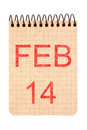 February calendar on recycle paper isolated on white background Royalty Free Stock Photography