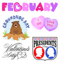 February Events Clip Art Set Stock Photography