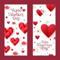 14 february, happy valentine day, concept poster, flat vector illustration. Design lovely pink heart, flower, blossom