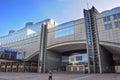 February 2017. Modern architecture of European Parliament buildi