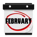 February month word wall calendar remember schedule the on a to remind you of important events during the winter Royalty Free Stock Images