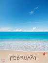 February on a tropical beach Royalty Free Stock Photo