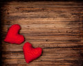 February valentine hearts on wooden table Stock Photography