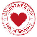 February 14 Valentines Day. Red stamp imprint heart shape