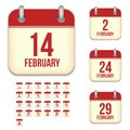February vector calendar icons this is file of eps format Royalty Free Stock Image