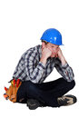 Fed up and bored tradesman a Royalty Free Stock Photos
