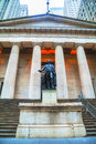 Federal hall national memorial at wall street in new york the morning Stock Photo