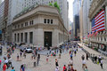 Federal Hall and Wall Street Royalty Free Stock Images