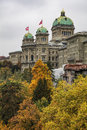 Federal palace of switzerland building on an overcast day in aut bern october the the is the Royalty Free Stock Image