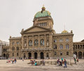 Federal palace of switzerland on an overcast day bern april the building view from bundesplatz square the Stock Image