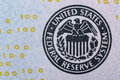 Federal reserve system seal of the on the banknote one hundred dollars usa Stock Photos