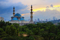 The federal territory mosque kuala lumpur malaysia during sunrise was constructed between to it is situated on a five hectare site Royalty Free Stock Images
