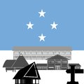 Federated states of micronesia national flag and architectural attractions the illustration on a white background Stock Photo