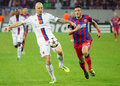 Federico piovaccari and ivan ivanov during champions league game steaua s fc basel s pictured in action the uefa between steaua Stock Photo