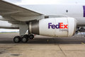 FedEx jet engine Royalty Free Stock Photo