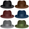 Fedora hat a selection in black gray burgundy olive blue and brown colors Stock Photos