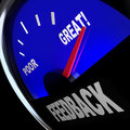 Feedback fuel gauge customer opinions reviews comments the word on a to solicit questions and viewpoints from customers or your Stock Images