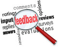 Feedback magnifying glass input comments ratings reviews the words replies answers responses opinions surveys and evaluation under Stock Photos