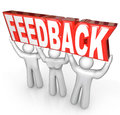 Feedback people team lift word customer support service the lifted by a to encourage comments reviews questions or other Stock Images