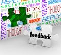 Feedback puzzle wall words customer service survey the word on a piece filling a hole in a with like opinion satisfaction reply Royalty Free Stock Photography