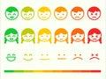 Feedback rate emoticon icon set. Emotion smile ranking bar. Vect Royalty Free Stock Photo