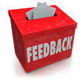 Feedback suggestion box collecting thoughts ideas a red for employee or customer comments reviews ratings suggestions or other Royalty Free Stock Photography
