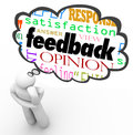 Feedback thought cloud thinker review opinion comment a person thinks with a over his head containing the words satisfaction Stock Image