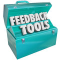 Feedback tools toolbox comments reviews opinions words in a blue metal to illustrate methods such as online collection of surveys Royalty Free Stock Image