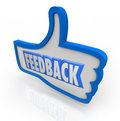 Feedback word blue thumb up positive comments the in a thumbs indicating and opinions from customers and other people in your Stock Image