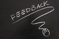 Feedback word and mouse symbol drawn on the blackboard Stock Image