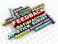 Feedback words collage concept word of related on checked texture floor Stock Images