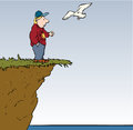 Feeding bird precariously man on edge of cliff a seagull Stock Images