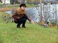 Feeding the ducks. Royalty Free Stock Photo
