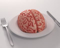 Feeding knowledge brain in the dish Royalty Free Stock Photo