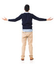 Feel free rear view of asian young man open arms and full length portrait Stock Photo
