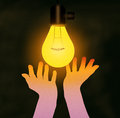 Feel The Warmth of Incandescent Light Bulb Royalty Free Stock Photo