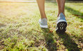 Feet of an athlete running on a park pathway training for fitness and healthy lifestyle Royalty Free Stock Photo