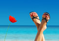 Feet crossed on an island paradise Royalty Free Stock Images