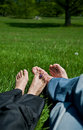 Feet on grass Stock Photo