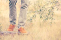 Feet Man walking Outdoor Lifestyle Fashion Royalty Free Stock Photo
