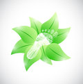 Feet and natural leaves illustration design over a white background Royalty Free Stock Photo