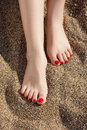 Feet sand Obrazy Royalty Free