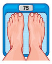 Feet on the scale spot diet program concept human scales weighing scales legs weights foot bathroom balance Royalty Free Stock Image